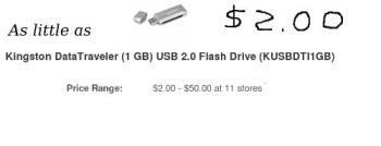 1 GIG storage pen drive for $2 - If you know how to shop your storage can go high on the seriously cheap!