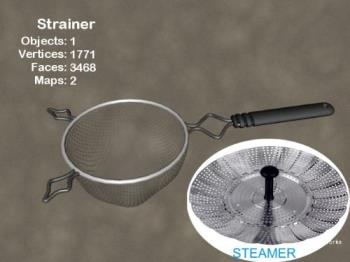 Strainer and a Steamer - Strainer with handle - can be found in different sizes and very cheap at dollar stores.  Steamer - found by the kitchen gadgets usually not too expensive either.