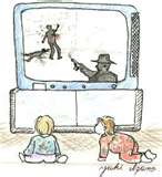Kids and TV - They love to get close to it but we as adults have to teach them to stay away.