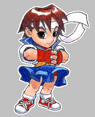 "Sakura Chibi - Sakura fights in an emulated Ansatsuken form. She can successfully manipulate ki and is subsequently able to perform the ""Hadouken"" energy attack (however, due to her lack of training, she cannot throw it the full length of the arena like Ken or Ryu can). Unlike the other Ansatsuken warriors, however, she can control the size of her Hadouken and throw larger Hadoukens that sacrifice range and execution speed for size (up to 3 times larger). In the Marvel vs. Capcom series, she throws her Hadoukens diagonally. In Capcom vs. SNK 2, she is given an energy spark instead of a traditional projectile (called the ""Hadoushou"") that hits 3 times but is limited to the area in front of her hands. Her other attacks include ""Shunpuu Kyaku"", a short version of the ""Tatsumaki Senpuu Kyaku"" attack (instead of sailing through the air, Sakura's version rises then falls in an arcing pattern and traditionally only goes about 60% of the screen at its longest range) and ""Shououken"", a version of the ""Shoryuken"" that sees her running before executing the attack (however, when performed with the strongest Punch button, the attack can hit 6 times as she's running toward her opponent). Her super attacks include her own interpretations of the ""Shinkuu-Hadoken"" (the Shinkuu-Hadoken, like her regular projectile, will not cover the full length of the screen) and ""Shoryu-Reppa"" (""Midare Zakura""). Her third super attack is a ground based spinning leg attack (called the ""Haru Ichiban"", literally translated as ""first one of the spring"") that ends with a side kick that knocks her opponent away. -answers.com