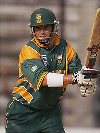 Neil Douglas McKenzie - McKenzie made his maiden Test hundred against New Zealand in 2000-01. Another century soon came, against Sri Lanka at Supersport Park but it would be his last (to date). From there on in he couldn't convert his 12 50's into hundreds although he came close when he was run out by Damien Martyn for 99. After a series of low scores was dropped from the side. After showing excellent form in domestic cricket, three and a half years later he was again recalled to the South African Test squad for the second Test against the West Indies at Newlands. Opening the innings, McKenzie scored 23 before a torn calf muscle meant he was unable to bat in the second innings and would miss the third Test of the series. A further development as a result of his recall was that Somerset announced that it was unlikely that McKenzie would return to the club for the 2008 season, having played in 2007 as a Kolpak player. During a test against Bangladesh begun on February 29, 2008, McKenzie hit a world record 1st wicket partnership of 415 with Graeme Smith.