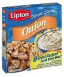 Onion soup mix and reg size container of Sour Crea - is so good for potato chip dip! So easy to make as well!