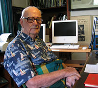 Arthur C. Clarke - Arthur C. Clarke at his home office in Colombo, Sri Lanka, 28 March 2005 (photo by Amy Marash).