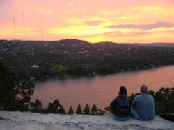 Mt Bonnell sunset - Don't know who the people are