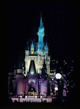 Night shot of Cinderella's Castle in Disneyworld - image of Disneyworld