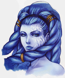 Shiva - Guardian Force in Final Fantasy VIII - The frozen body of Shiva arises from the ground. Awaking from her sleep, the goddess of ice shatters her icy slumber. She lifts her arm into the air, gathering a chilling energy that is forcefully blasted upon all enemies.