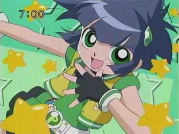 "Powered Buttercup - She transforms using the phrase ""Powered Buttercup"" and uses a Daruma Otoshi hammer. Like the original Buttercup, Kaoru is a tomboy and is the most easily enraged of the three. She is known at school for being the most athletic girl as she plays tennis, practices martial arts, and numerous other activities, and spends a great deal of time watching sports on television. She is especially good at soccer due to her strengthened determination after receiving new soccer cleats from her brothers when she was younger. This may be part of the reason why she has so many fangirls, much to her dismay. She dislikes girls, who she considers very ""girly"". This includes Momoko and Miyako. This, in addition to the fact that she hates skirts, makes Kaoru the most reluctant of the girls, only joining due to the power it has given her. In later episodes, she begins to care about Momoko and Miyako and is no longer reluctant about joining them in whatever they do, but she often tries to act calm and indifferent. She speaks with a hard and masculine edge and rarely uses honorifics when speaking. Her greatest fear is ghosts. Kaoru lives with her father, who is a professional masked-wrestler, mother and two brothers, one older and one younger. She is represented by stars. - answers.com"