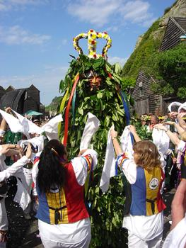 Jack In The Green With Morris Dancers - Jack in the Green at Hastings Castle surrounded by Morris Dancers.