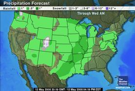 Weather Map - Show's the cold front's coming in.
