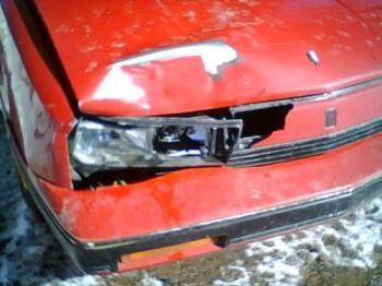 my last deer hit - This one I did 12 days after getting the car...all because I had to go to the store for eggs. Pretty expensive eggs I'll tell you lol...$1.89 for the carton, $75 for the new headlight, $15 to replace that red piece...can't find a hood for under $200 so I kept the old one...