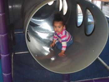 Zoe's First BDay - Chillin out in the tunnel at McDonald's