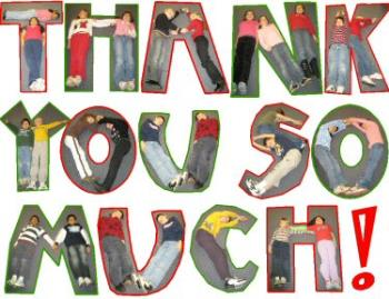 Thank you goes so far! - A creative thank you card featuring cut outs of people.