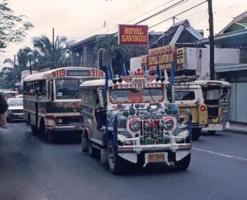 Jeep infront of an Ordinary Bus - Jeepneys are a popular means of public transportation in the Philippines. They were originally made from US military jeeps left over from World War II and are well known for their flamboyant decoration and crowded seating. They have also become a symbol of Philippine culture. - answers.com