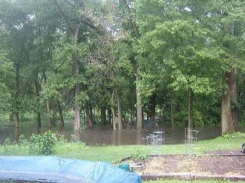 """Flood waters - The result of over 4"""" of rain in under 3hrs."""