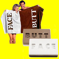 Butt/Face Towel and soap - You should get this for your mom, lisado !