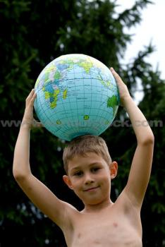 boy playing with world - He want to play with world i think