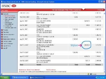 Money in my HSBC account - The 32 dollars which I withdrew