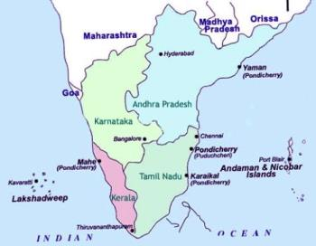 map of south india - this is a map of the southern tip of india