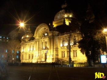 "The CEC Palace - A night picture of the Savings Bank headquarters, known as ""The CEC Palace"""