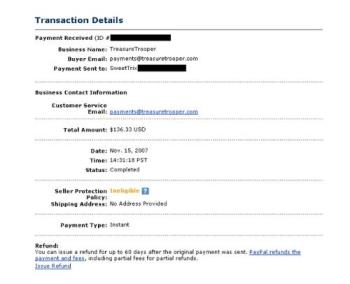 Treasure Trooper Payment - My payment from Treasure Trooper via PayPal.
