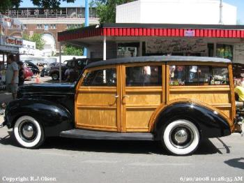 Woody - With real mohagany wood. This man went all out with the wood on this when he rebuilt it. Awesome isn't it?