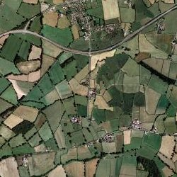 aerial view of Whitney Village in Somerset UK - aerial view of Whitney village in Somerset UK