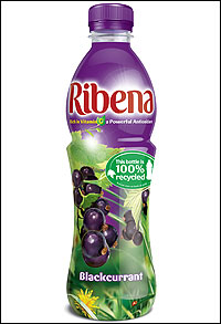 A bottle of Ribena - A cool bottle of Ribena