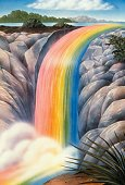 Happiness at the end of a rainbow - pic of rainbow waterfall