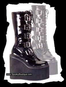 Cyber gothic platform boots - These are the greatest boots for clubbing! Even though they are pretty high they are still very comfortable and fit nicely even if you have a bit of a thicker calf. I have the non-patent ones myself as I found them on the internet, only worn a couple of times, and at a very good price. Otherwise I would've bought the patent ones but this saved me so much money I am not going to make a fuzz about the material :)