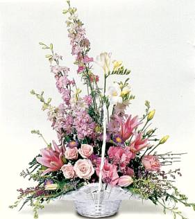 Basket of Flowers - basket of pink flowers