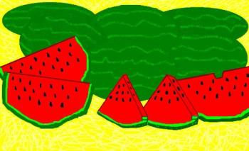 Nice cool watermelons! - I drew this picture on the computer in MS Paint and I call it Watermelon Dreams. It's perfect for summer and trying to keep cool!