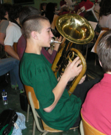 Mitch on baritone - This is my younger son in the school band.