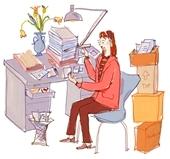 my desk LOL! - illustration of woman working at desk