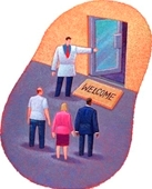 Welcome Back! - illustration of welcoming people