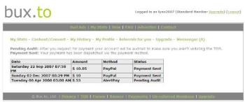 Bux.To History - This is a screenshot of my payout history with Bux.To. If you're interested in joining theis ptc site, please visit: http://bux.to/?r=lynn2007
