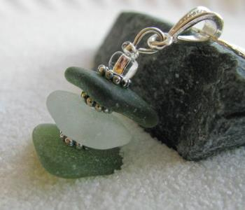 Olive & White Stacked sea Glass Necklace - Triangular shaped authentic sea glass in deep olive, frosty white/clear and light olive green are stacked with sterling silver spacers and clear glass accent beads to complete the gorgeous pendant on this bracelet.