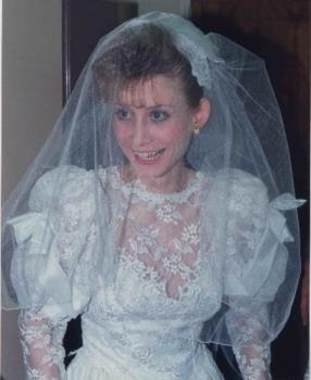Me in my wedding gown 17 years ago, from top up - I love my gown and don't know what to do with it yet.