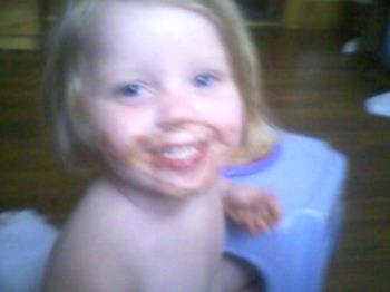 My daughter eating spaghetti o's - My messy eater, eating spaghetti o's.......making mommy smile!