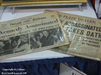 Newspapers - Newspaper Headlines from papers saved.  New York Herald tribune and a Cleveland Ohio paper.