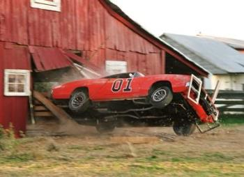 dukes of hazzard - dukes of hazzard doing their usual every day car stunt into barn lol