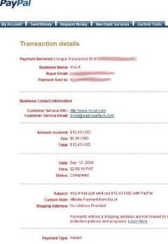 myLot first payment - proof of payment for myLot first earning.