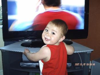 baby watching tv - my baby zach watching telly too close to tv.