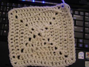 granny square crochet - my first square that didn't turn into a circle.