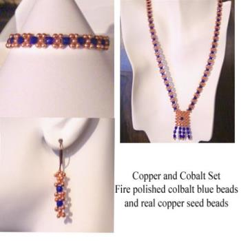 My own jewelry - This is a copper and cobalt set that I made for myself. I love the color combination, but couldn't find anything anywhere, so I made my own.