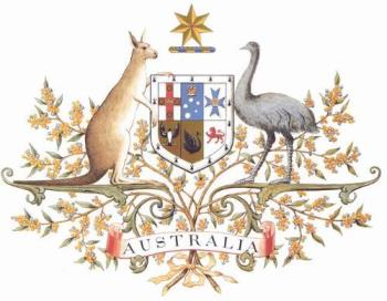 Australia's Coat of Arms - The Kangaroo and the Emu are the bearers of the shield which contains the badges of all six states.