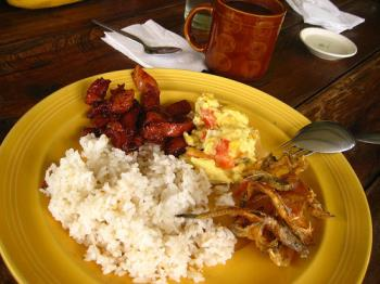 Breakfast the Filipino Way - We usually have rice, fried eggs, dried fish and sweetened beef