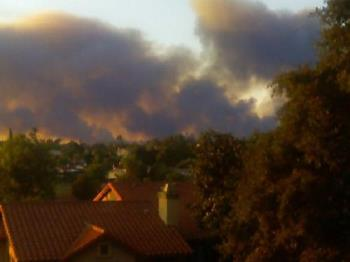 From My Neice's Apartment Deck - This is a picture that my neice took of the last California fire and it was taken from her apartment deck! She and her husband are stationed at Camp Pendleton, where the last fire took place, not on base though, but still a fire is a fire. Thank God they were able to contain it before it got to her.