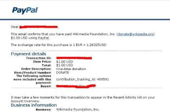 This is my donation proof of 1 dollar for Wikipedi - This is my donation proof of 1 dollar for Wikipedia.