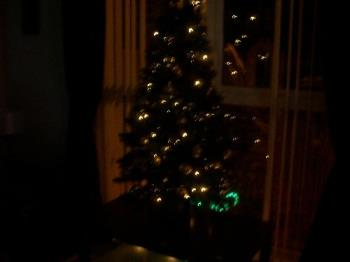 Gold christmas tree in the dark - My gold christmas tree in the dark.