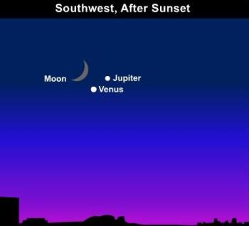 Moon, Venus, Jupiter - This is a drawing of what we saw tonight. It will probably be visible tomorrow night as well so, if you want to see it, you'd better hurry! It won't be around again until the year 2053!